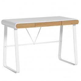 Bílý pracovní stůl se 3 zásuvkami Marckeric Astrid