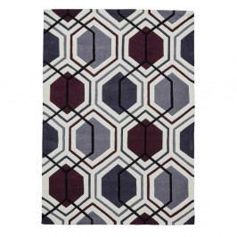 Šedo-fialový ručně tuftovaný koberec Think Rugs Hong Kong Hexagon Cream Dark & Purple, 90 x 150 cm