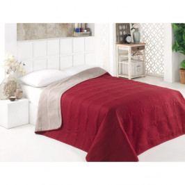 Šedo-červený oboustranný přehoz přes postel z mikrovlákna, 160 x 220 cm