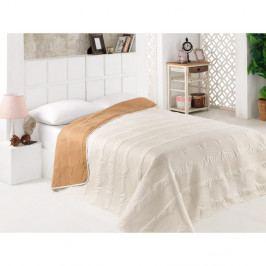 Béžový oboustranný přehoz přes postel z mikrovlákna, 160 x 220 cm