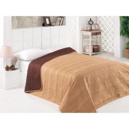 Hnědo-béžový oboustranný přehoz přes postel z mikrovlákna, 160 x 220 cm