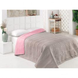 Šedo-růžový oboustranný přehoz přes postel z mikrovlákna Flora, 200 x 220 cm