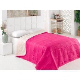 Růžovo-bílý oboustranný přehoz přes postel z mikrovlákna, 200 x 220 cm