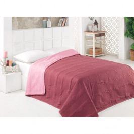 Hnědo-růžový oboustranný přehoz přes postel z mikrovlákna, 200 x 220 cm
