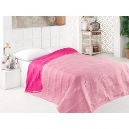 Růžový oboustranný přehoz přes postel z mikrovlákna, 200 x 220 cm