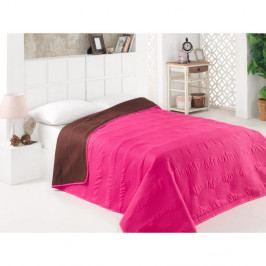Růžovo-hnědý oboustranný přehoz přes postel z mikrovlákna, 200 x 220 cm