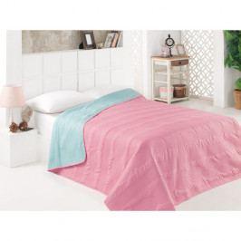 Růžovo-modrý oboustranný přehoz přes postel z mikrovlákna, 200 x 220 cm