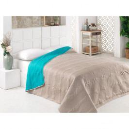 Tyrkysovo-šedý oboustranný přehoz přes postel z mikrovlákna, 200 x 220 cm