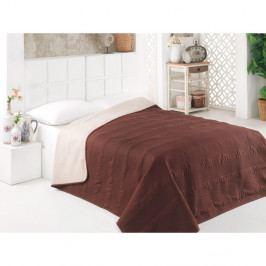 Hnědý oboustranný přehoz přes postel z mikrovlákna Johny, 200 x 220 cm