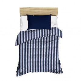 Modro-bílý pruhovaný prošívaný přehoz přes postel, 160 x 230 cm