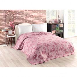 Růžová přikrývka s příměsí bavlny Flamingo, 180 x 220 cm