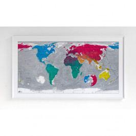 Mapa světa v průhledném pouzdře Colourful World, 130x72cm