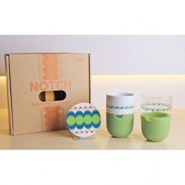 Sada 2 hrnků na latté s podtáckem a zeleným silikonovým krytem Silly Design Take A Break