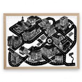 Puzzle z recyklovaných materiálů v bukovém rámu Pucle Smyčka,500dílků