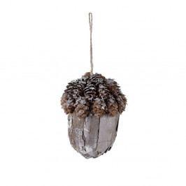 Závěsná dřevěná dekorace ve tvaru žaludu s šiškami Ego Dekor, výška11cm