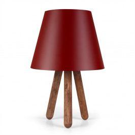 Červená stolní lampa s nohami z bukového dřeva Kira