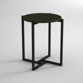 Odkládací stolek s deskou v tmavě zelené barvě Noce, ⌀ 49 cm