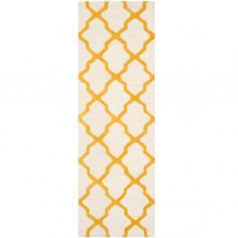 Bílo-žlutý vlněný běhoun Safavieh Ava 76x243cm