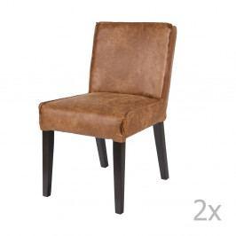 Sada 2 hnědých židlí s potahem z recyklované kůže BePureHome Rodeo