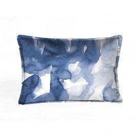 Modro-bílý dekorativní povlak na polštář Velvet Atelier Watercolor, 50 x 35 cm