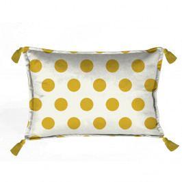 Žluto-bílý dekorativní povlak na polštář Velvet Atelier Dots, 50 x 35 cm