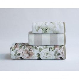 Sada 3 bavlněných ručníků Velvet Atelier Beige Flowers