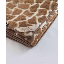 Hnědá deka z velbloudí vlny Royal Dream Camel Shapes, 160x200 cm