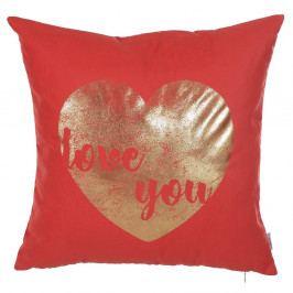 Červený povlak na polštář Apolena Shimmering Heart, 45 x 45 cm