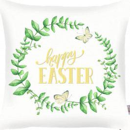 Zelenobílý povlak na polštář Apolena Happy Easter, 43x43cm