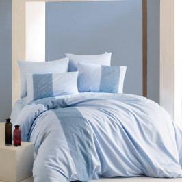 Modro-bílé povlečení z ranforce bavlny na dvoulůžko Marinate, 200 x 220 cm
