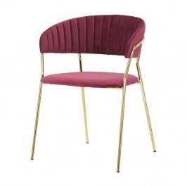 Vínově červená židle s konstrukcí ve zlaté barvě Mauro Ferretti Poltrona