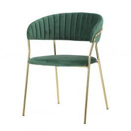 Smaragdově zelená židle s konstrukcí ve zlaté barvě Mauro Ferretti Poltrona