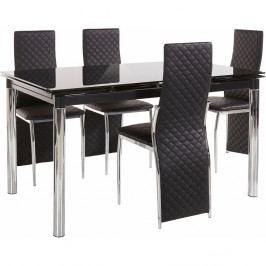 Set jídelního stolu a 4 černých jídelních židlí Støraa Pippa William Black