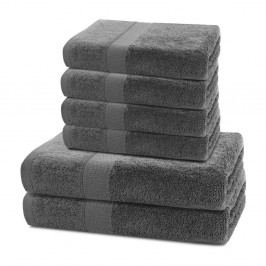 Set 2 bavlněných tmavě šedých osušek a 4 ručníků DecoKing Marina