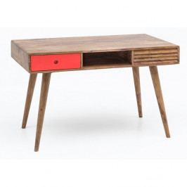 Pracovní stůl s červenou zásuvkou z masivního sheeshamového dřeva Skyport REPA
