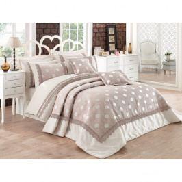 Set přehozu přes postel na dvoulůžko s povlaky na polštáře Caren, 260x270cm