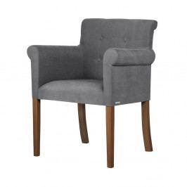 Šedá židle s tmavě hnědými nohami z bukového dřeva Ted Lapidus Maison Flacon