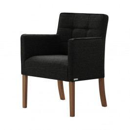 Černá židle s tmavě hnědými nohami z bukového dřeva Ted Lapidus Maison Freesia