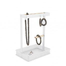 Bílý stojánek na šperky s dřevěnými detaily PT LIVING Merge Square