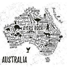 Obraz Homemania Maps Australia Pictures, 60x60cm