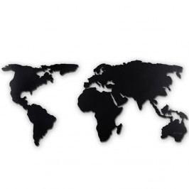 Černá nástěnná kovová dekorace World Map XL