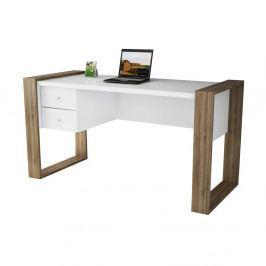 Bílý pracovní stůl v dekoru ořechového dřeva Lord