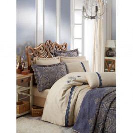 Modro-žlutý přehoz přes postel na dvoulůžko s povlaky na polštáře Ornella, 260x260cm