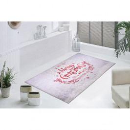 Bílo-červený koberec Vitaus We Wish You, 80 x 150 cm