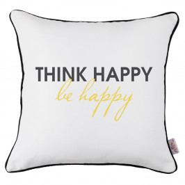 Černobílý povlak na polštář Apolena Think Happy, 43x43cm