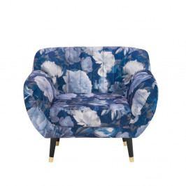 Modré křeslo Mazzini Sofas Benito Floral