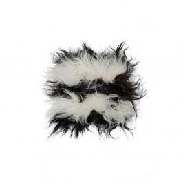 Černobílý kožešinový podsedák z ovčí kůže Arctic Fur Bobby, 37 x 37 cm