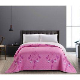 Růžovo-bílý oboustranný přehoz z mikrovlákna DecoKing Sweet Dreams, 170x210cm