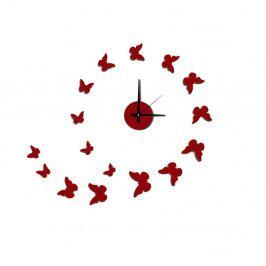 Nástěnné nalepovací hodiny Mauro Ferretti Butterflies Red, ⌀ 60 cm
