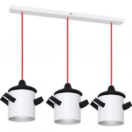Bílo-černé závěsné svítidlo s červeným kabelem Glimte Overhung Tres Poti I White